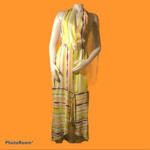 Jennifer Lopez Smocked Waist Maxi Dress